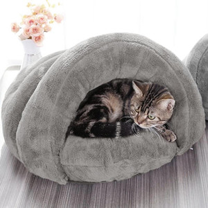Detachable Pet Bed for Cats Dogs Soft Nest Kennel Cave House Sleeping Bag Mat Pad Tent Pets Winter Warm Cozy Beds