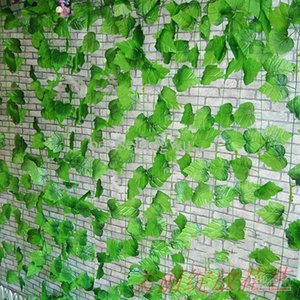 Free shipping 8.2FT long High simulation large vines of grape vine leaves artificial silk flowers home garden Decor