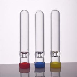 7cm 길이 유리 짚 튜브 담배 필터 파이프 유리 필터 팁 두꺼운 pyrex 유리 흡연 파이프 캡 및 스티커와 담배 홀더