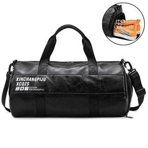 Men Gym Bag Leather Sports Bags Dry Wet Separation Bag Training for Shoes Fitness Yoga Travel Luggage Shoulder Sac De Sport