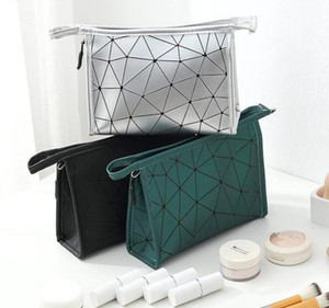 Rhombus Cosmetic Storage Bag Fashion Lady PU Waterproof 3D Zipper Portable Storage Bags Women Geometric Rhombus cosmetic Handbag WY527Q HB