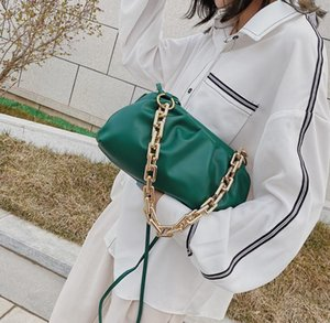 Newset cloud-shaped evening bag cloud bag with thick chain clutch bag ladies small leather U-clamp handbag messenger handbag