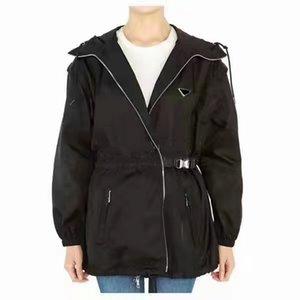 Femme Veste Gilet Longue avec manches à coupe-vent à capuche Retirez les manteaux avec ceinture pour Lady Slim Jacket Blanc et noir Deux options Taille S-L