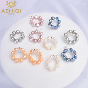 Ashiqi Natural Freshwater Pearl Stud Pendientes para mujeres 925 Sterling Silver Circle Jewelry1