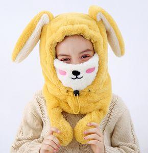 겨울 새로운 아이들 긴 토끼 귀 모자 어린이 플러시 두꺼운 따뜻한 귀에 머프 소년 소녀 마스크 덫 hats a5312