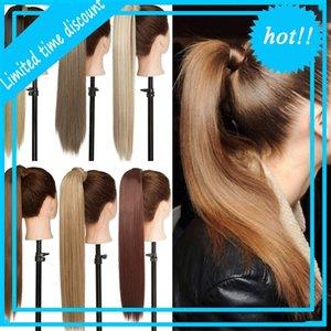 Snoineau long droit clip à Staart False Faux Horseshoe Pièce avec Pins Synthetic Pony Tail Hair
