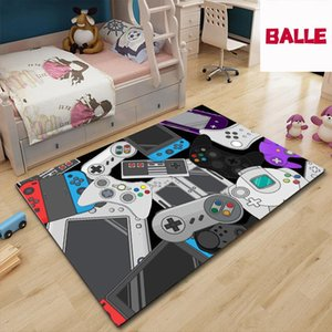 Hand Woven Cotton Linen Game Pattern Carpet Rug Bedside Game Machine Electric Carpet Handle Living Room Video Floor Mat