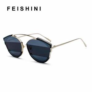 FEISHINI luxury Quality Sunglass Ladies Superstar Eyewear Men Zonnebril Cobain Vintage Tinted Cat eye Sunglasses Women Mirror