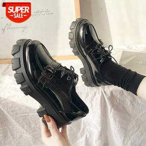 Lucyever Women Patent Leather Chunky Heels Shoes Casual Lace Up Platform Pumps Woman Black Gothic Buckle Creepers Shoes Female #RK8I