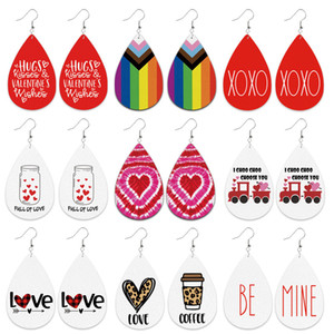 Be Mine Valentines Day Leather Earrings Coffee Cup Leopard Print Heart-Shaped Tie-Dye Love Rainbow Color Cute Car Earring Gift