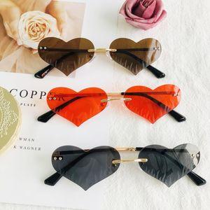 HBK Heart Rimless Sunglasses Women Men Love Party Red Small Frameless Sun Glasses 2021 Metal Frame Christmas Sweet Shades Gift