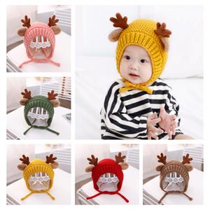 Babywollhut Herbst und Ainter für Jungen und Mädchen mit Samt warme Strickmütze Weihnachtsgeweihe Niedlichen Cartoon-Hut W-00465