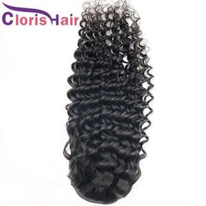 Estensioni con coulisse per ponytail Wave Deep Wave Capelli umani Malesian Remy coda di cavallo con clip in per le donne nere regolabili ricci capelli ricci