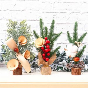 10 Inch Mini Christmas Tree with Ornaments Tabletop Artificial Holiday Tree Decor Simulation New Year Decoration DIY Gift Kimter-X989FZ