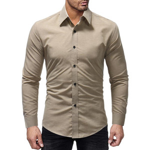 2020 Spring New Men Shirt Simple Fashion Solid Color Business Camisa Masculina Men's Casual Comfortable Long-sleeved Shirt