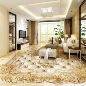 Custom Floor Mural Wallpaper European Style Luxury Gold Rose Marble Soft Roll 3D Floor Tile Sticker Living Room PVC Home Decor