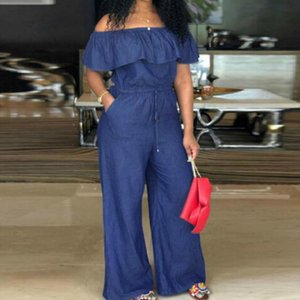 Women Sleeveless Off Shoulder Denim Jumpsuit Homewear Casual OL Romper Playsuit Overalls Plus Size M 4XL Drop Shipping