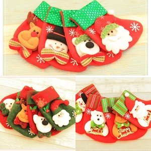 12 styles Hanging Socks Cute Candy Gift bag snowman santa claus deer bear Stocking for Christmas Tree Decor DHD1688