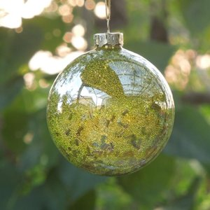 16pcs pack Diameter=8cm Small Size Yellow Beads Inner Sticking Glass Globe Home Decoration Christmas Day Decorative Ball Pendant