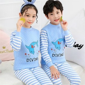 Boys Girls Dinosaur Pajamas Winter Long sleeve warm Thick Clothing Sleepwear Cotton Pyjamas home Sets For Kids 2 4 6 8 10 12 Yrs 201029