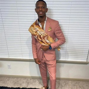 Pink Mens Pants Suits Plus Size Two Button Groom Best Man Coat Business Wedding Blazer (Jacket+Pants)