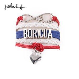 Little Minglou Infinity Love Boricua Bracelet Heart Charm Wrap Wrap Hombres Pulseras Brazaletes Para Mujeres Joyería
