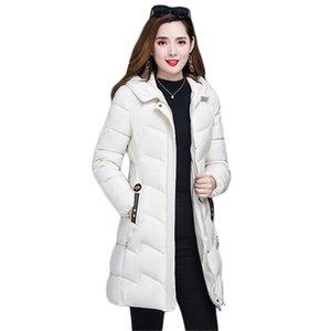 Winter Coat Women White 2020 New Down Cotton Jackets Korean Long Slim Thick Warmth Fur Collar Hooded Parkas Tops Feminina CX1337