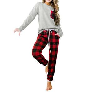 Femmes Christmas Family Pyjamas Ensembles Buffalo Plaid Two Piece Vêtements Patchwork T-shirt Tops Tops Pantalon de jambe à carreaux Suit 2PCS / Set E111806