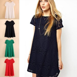 Bohemian Ladies Loose Bottoming Women S 5XL Short Sleeve Hot Dress Vintage Lace Cutout Lace Base O Neck Loose Solid