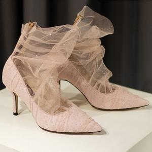 Gazlı Bez 8 CM Yüksek Topuklu Kadın Ayakkabı Sivri Düğün Akşam Balo Parti Elbiseler Şeffaf Örgü Elmas Ayakkabı Kadınlar Seksi Bayanlar Düğün Ayakkabı
