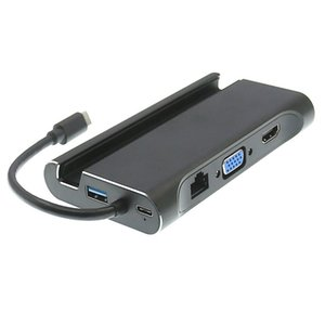 4FDS2WTHVR07 7 в 1 Держатель подставки для мобильных телефонов Тип-C USB Hub + 4K HD VGA + RJ45 Gigabit Ethernet + 3 * USB 3.0 Порт + тип C PD зарядки