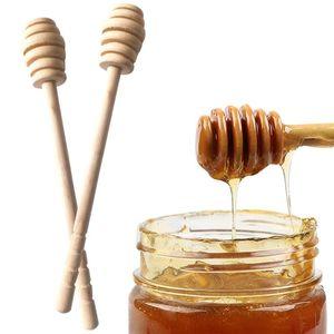 Mini Miele Miele Miele Miele Miele in legno Stil Bar Party Supply Spoon Stick Honey Jar Stick Caffè Cucchiaio da sposa Party Fede Fornitura DHF4004
