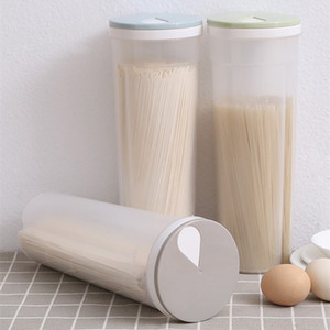 Transparent Spaghetti Protector Jars Grains Tank Food Storage Box Plastic Container withPour Lid Noodles Seal Bottles Kitchen Containers