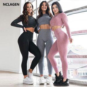 Nclagen Yoga Set Donne Fitness Simile Senza Cuciture Stile Sport Outfit Manica lunga Push-up Bra Leggings Gym Gym Workout Sportwear
