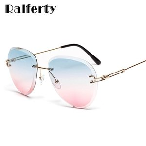 Ralferty 2020 Sunglasses Women Designer Pilot Rimless Crystal Sun Glasses Female High Quality Gradient Shades for Women W2328