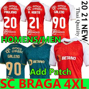 4XL 20 21 SC BRAGA Soccer Jersey 2020 2021 Sporting Clube de Braga Camicie da calcio Galeno Paulinho R.horta Abel Ruiz Bruno Viana Uomo Uniforme