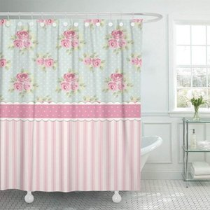 Colorful Cute Shabby Chic Roses and Polka Dots Shower Curtain Waterproof Polyester Fabric 72 x 78 Inches with Hooks