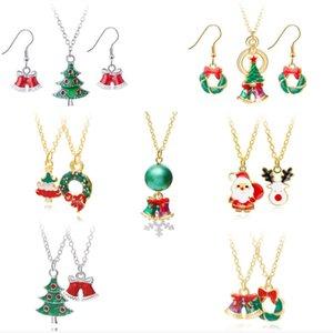 2021 Hot sale Christmas series bells snowman wreath santa claus necklace earrings set zj-2233