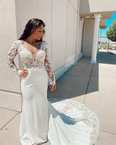 Plus Size Arabic Aso Ebi Sexy Vintage Lace Wedding Dresses Deep V-neck Bridal Dresses Long Sleeves Cheap Wedding Gowns