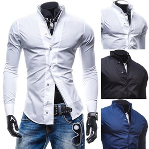 NEW 2020 Fashion spring autumn solid stand-up collar Slim Fit Casual mens clothing wedding Tuxedo Shirts