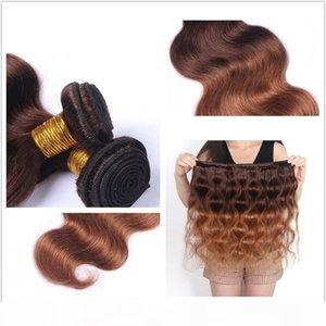 ZhiFan real hair extensions dark blonde ombre human hair for braiding body waves for medium length hair