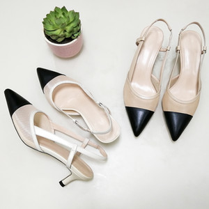 wholesale Women Natural Genuine Leather Shoes Slingbacks High Heels Pointed Toe Cutout Sandals Shoes Ladies Beige Large Size 42 43