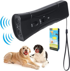 3 en 1 Ultrasonic LED Dog Dog Repeller STOP BARK DISSION DE DISPOSITIF DE TRAINGEUR DE TRAINE ANTI ÉCHANGE DE COULEUR DE LA PLATEAU DE COULEUR 2 COULEURS