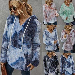 Fleece Hoodies Sweatshirt Women Winter Casual Faux Fur Tie Dye Print Pullovers Blue Gradient Warm Thick Sweatshirts Streetwear F1209