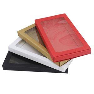 Boîte de carton de tiroir en papier kraft de 200pcs pour boîtier de boîtier de boîtier de boîtier de boîtier de boîtier rouge / blanc / noir / kraft de papier de style glacé Post GWD3627
