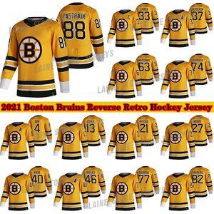 보스턴 Bruins 2020-21 Reverse Retro Jersey 88 David Pastrnak 37 Patrice Bergeron 63 Brad Marchand 77 레이 베르크 4 Bobby Orr Hockey Jerseys