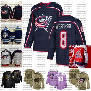 2021 Reverse Retro Anpassen # 8 Zach Werenski Columbus Blue Jacken Jerseys Golden Edition Camo Veterans Day Fights Cancer Hockey Jersey