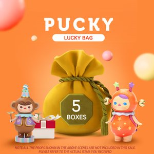 POP MART Pucky Suprise Lucky bag Series with 5pcs Blind Box Doll Binary Action Figure Birthday Gift Kid Toy free shipping Q1123