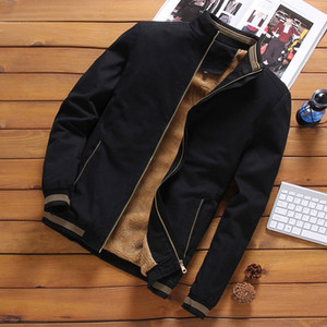 2020 Autumn Mens Bomber Jackets Casual Male Outwear Fleece Thick Warm Windbreaker Jacket Mens Military Baseball Coat