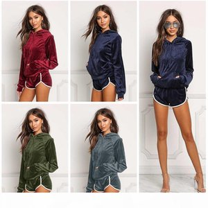 Women Fashion Sportswear Autumn Gold Velvet Tracksuit Womens Two Piece Set Hooded Hoodies +short Pants Casual Sporting Suits
